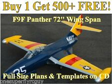 """F9F Panther 72"""" WS Giant Scale RC Airplane Plans & Templates on CD in PDF Format"""
