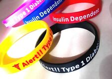 KIDS SIZE  - TYpe 1 Diabetes Medical Insulin Alert Silicone Wrist Band Bracelet
