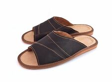 MEN'S LEATHER SLIPPERS SHOES SANDALS BROWN SLIP ON US SIZE 7 -12 SALE OPEN TOE