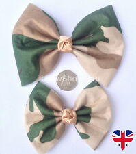 Large or Small Army Green Camouflage Print Hair Bow Alligator Clip Accessory
