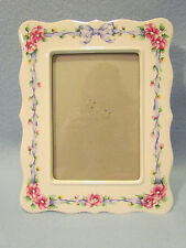 White Glass Pink & Yellow Floral Flowers Blue Ribbon Bow 5x7 Photo Picture Frame