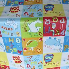CHILDRENS ABC ALPHABET ANIMAL PVC OILCLOTH VINYL FABRIC WIPECLEAN TABLECLOTH