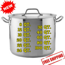 Heavy Duty Commercial Restaurant Aluminum Stainless Steel Stock Soup Pot w/ Lid