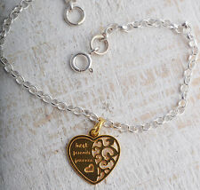 STERLING SILVER & GOLD PLATED BEST FRIENDS FOREVER HEART CHAIN BRACELET 925