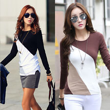 Elegant Womens Long Sleeve Crew Neck Blouse Splice Color T-Shirt Tops Blouse Tee