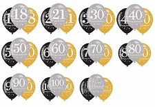 6 x BLACK GOLD SILVER CELEBRATION BIRTHDAY HELIUM QUALITY BALLOONS AGES  18-100