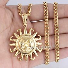 Mens Chain 316L Stainless Steel Tribe Sun PENDANT Necklace Silver/Gold 18-36inch