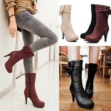 Lady Pump High Heels Bowknot Court Shoes Womens Fashion Mid Calf Riding Boots AU