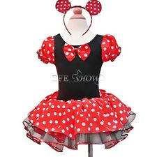 New Girls Fancy Dress Kids Costume Birthday Party Fancy Minnie Dress+Headband