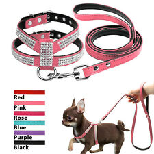 Bling Rhinestone Suede Leather Padded Puppy Dog Harness and Lead for Small Dogs