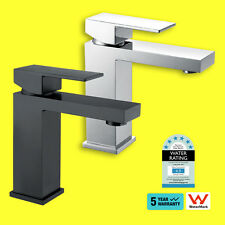 WELS Matt Black / Chrome Square Brass Vanity Basin Sink Mixer Tap Shower Faucet