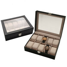 10 Slot Faux Leather Watch Display Box Organizer Case Glass Top Jewelry Storage