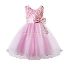 HOT Wedding Bridesmaid Princess Flower Girl Dress With Bowknot Flower, 1-7Y