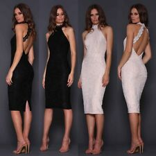 Designer Elle Zeitoune Halterneck Lace Bodycon Backless Cocktail Party Dress