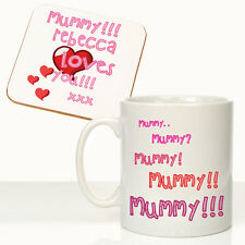 Personalised Daughter Loves Mummy Mug Coaster Gift Set Mothers Day Birthday Gift
