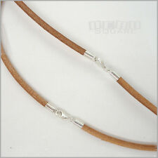 SALE Sterling Silver 3mm Nat. Tan Round Genuine Leather Cord Necklace / Bracelet