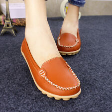 Womens Casual Oxfords Leather Shoes Loafers Lazy Peas Ballet Boat Comfort Flats