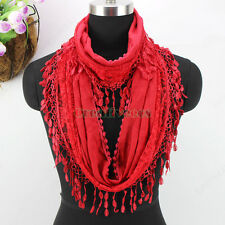 New Fashion Daisy Floral Lace Stitching Cotton With Tassel Infinity Loop Scarf
