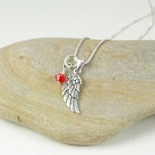 925 Sterling Silver Angel Wing Pendant Chain Necklace & Birthstones in Gift Box