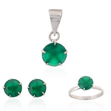 Green Onyx Real Gemstone Sterling Silver Earring, Ring & Pendant Set for Women