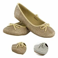 Kids Girls Sparkly Diamante Beaded Ballet Flat Pump Shoes