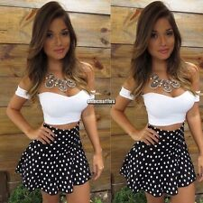 Women Sexy Crop Top Polka Dot Mini Skirt Dress Party Cocktail Clubwear Set S-XL