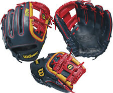 "WILSON A1K DP15 11.5"" ADULT BASEBALL GLOVE - BLACK/RED"