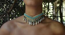 Lucky Coin, Cowrie shell and Beaded  choker in natural or Turquoise.