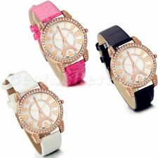 Fashion Womens Rhinestone Eiffel Tower Leather Band Analog Quartz Wrist Watch