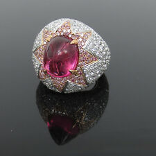 Estate Italian 7.50ct White & Pink Diamond 6.0ct Tourmaline 18K Gold Bombay Ring