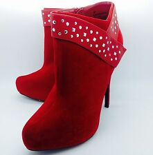 Large Size Ladies Red/Black Stud Ankle Boots Size UK11 UK 10 PLUS SIZE