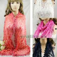 Casual Stylish Dot Mesh Lace With Lace Trim Mantilla Long Scarf Shawl Wrap Stole