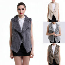 Casual Thick Vest 100% Real Knitted Rabbit Fur Gilet Jacket Lady Waitcoat V0108