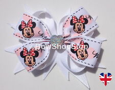 White Minnie Mouse Ribbon & Crystal Love Heart Hair Bow Alligator Clip Accessory