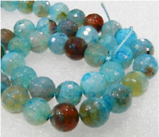 (6mm-8mm-10mm )Faceted Blue Dragon Veins Agate Round Loose Bead 15