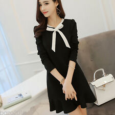 New Women Sexy Long Sleeve Bowknot Party Dress Evening Cocktail Casual Dress