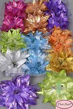 """Large Metallic-and-Chiffon Flower Hair Clip (clip/brooch) 5.5"""""""