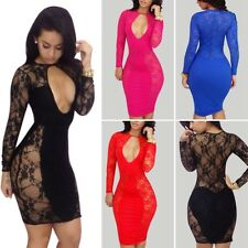 New Women Sexy Lace Long Sleeve Bodycon Cocktail Mini Dress Clubwear