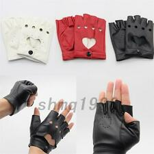 New Sexy Women Half Finger PU Leather Gloves Fingerless Driving Show Gloves Palm