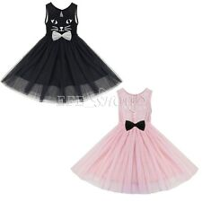 Kid Girls Princess Mesh Cat Print Party Dress Sleeveless Tutu Skirt Gift