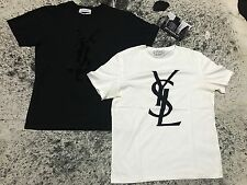 YSL Flocked Velvet XXL Yves Saint Laurent T Shirt White or Black Pre Owned RARE!