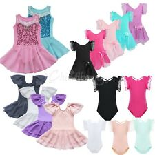Girls Gymnastics Ballet Leotard Dance Dress Tutu Skirt Kids 2-14Y Skate Costume