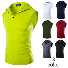 Fashion Mens Casual Slim Fit A-Shirt Quality Muscle Hooded Tank Tops Sleeveless.
