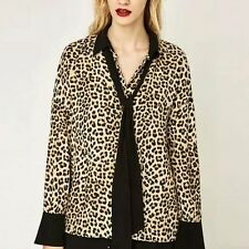 New Womens Sexy Fashion Leopard Print Long Sleeve Lapel Blouse Tops Shirt SML