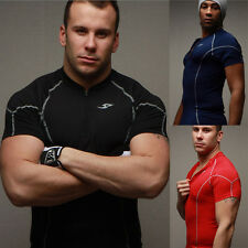 New Mens Sports T-Shirts Compression Wear Under Pro Base Layer Short Sleeve jh75