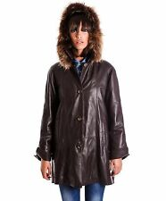 PAMELA • dark brown color • nappa lamb leather hooded coat smooth effect