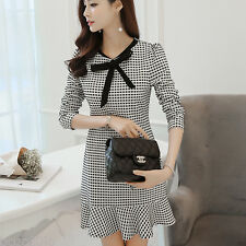 Fashion Women Dress Loose Bowknot Mini Dresses Casual Long Sleeve