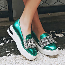 Beautiful Rhinestone Women Trendy Shoes Slip On Slippers Comfort Flat Platforms