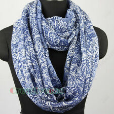 Fashion Womens Chinese Style Porcelain Floral Print Soft Long/Infinity Scarf New