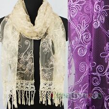 Vintage Fashion Lace Shine Line Floral With Funky  Tassel Mantilla Long Scarf